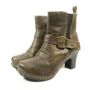 Dansko Leather Studded Buckle Heel Boots